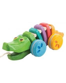 Деревянная игрушка Plan Toys Каталка радужный крокодил (1416) - plant 1416