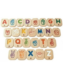 Дерев'яний англійський алфавіт Plan Toys мови жестів A-Z (5672) - plant 5672