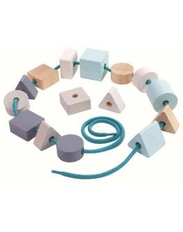Деревянная игрушка Plan Toys Геометрические бусинки на шнурке (5381) - plant 5381