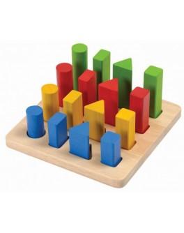 Дерев'яна іграшка Plan Toys Складальні дошки з геометричних фігур (5125) - plant 5125
