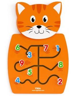 Деревянная игрушка настенная Viga Toys Кот с цифрами (50676)