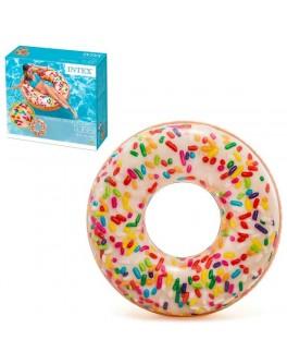 Надувной большой круг Intex Пончик с присыпкой 114 см