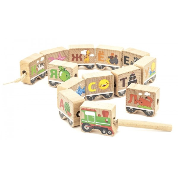 шнуровка алфавит Паровозик, Мир деревянных игрушек