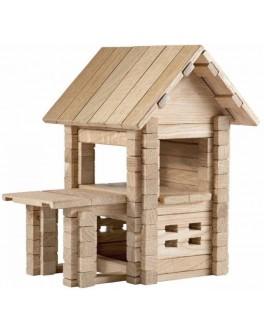 Деревянный конструктор Игротеко Домик с верандой на 102 детали - mlt s verandoi