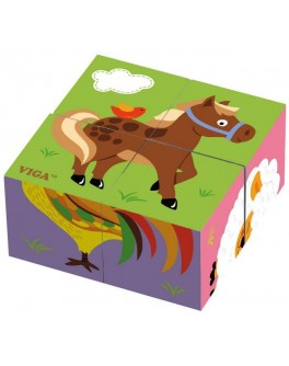 Пазл-кубики з дерева Viga Toys Ферма (50835) - afk 50835