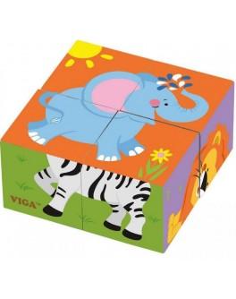 Пазл-кубики з дерева Viga Toys Сафарі (50836) - afk 50836