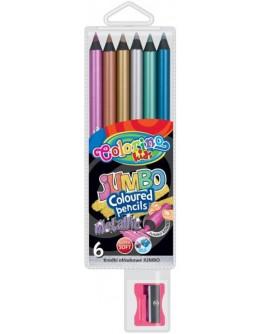 Круглі кольорові олівці Jumbo 6 металевих кольорів - ves 34661