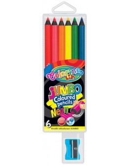 Круглі кольорові олівці Jumbo 6 неонових кольорів - ves 34654