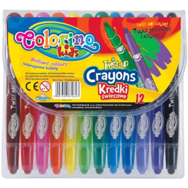 Воскова крейда Colorino з висувним стрижнем 12 кольорів - ves 32643