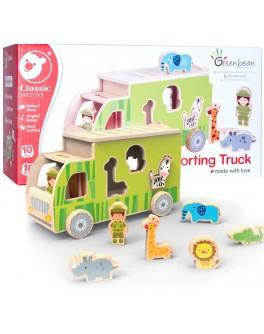 Дерев'яна іграшка Classic World Вантажівка сортер з тваринами - CW 4155