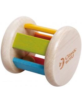Дерев'яна іграшка Classic World Брязкальце каталка Різнобарвний циліндр - CW 3053