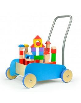 Деревянная тележка-ходунки Top Bright со строительными блоками, голубая - top b 150073