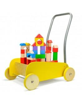 Деревянная тележка-ходунки Top Bright со строительными блоками, желтая - top b 150074