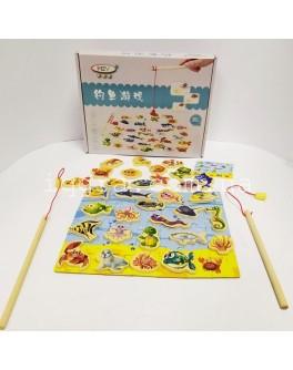 Деревянная магнитная игра Рыбалка с пазлом - igs С 37659