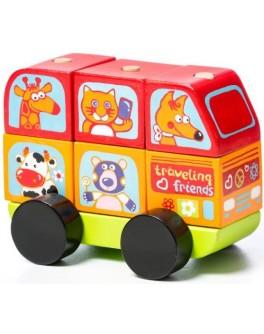 Дерев'яна машинка-конструктор Cubika Автобус Веселі звірята (13197) - cub 13197