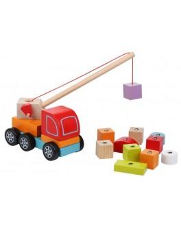 Деревянная игрушка Cubika Автокран с элементами на магнитах (13982) - cub 13982