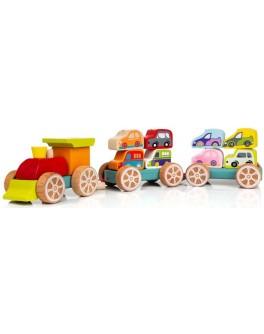 Деревянная игрушка Cubika Поезд с машинками (13999) - cub 13999