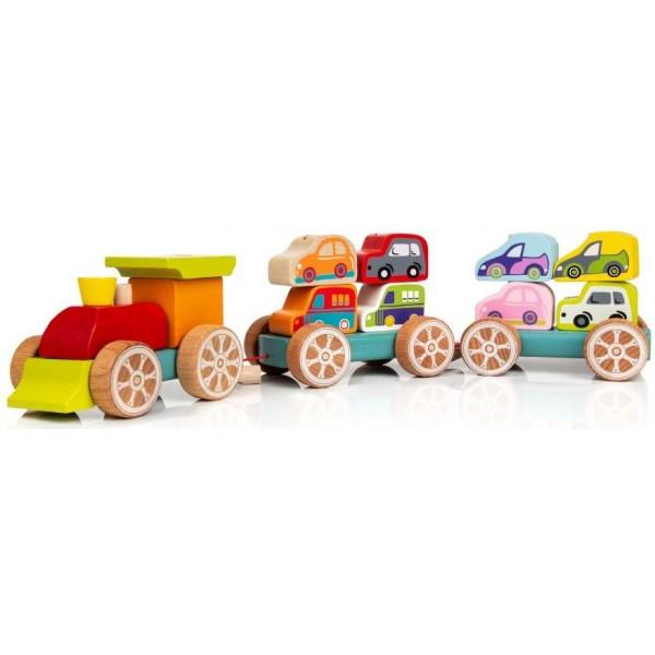 Поезд с машинками Cubika 13999