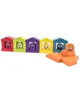 Деревянный конструктор Cubika Цветные домики (14866) - cub 14866