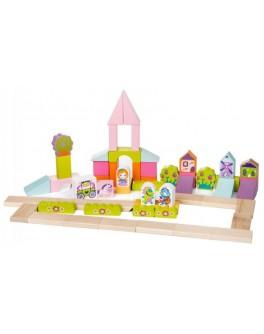 Деревянный конструктор Cubika Городок для девочек 55 деталей (13906) - cub 13906