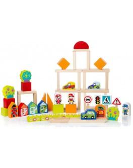 Дерев'яний конструктор Cubika Містечко для хлопчиків 55 деталей (13913) - cub 13913