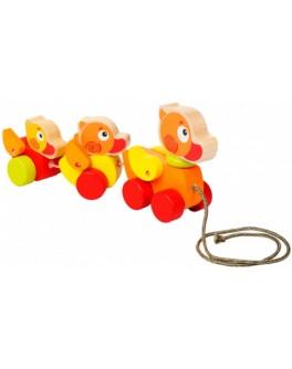 Деревянная игрушка Cubika Каталка Утята путешественники (13722) - cub 13722