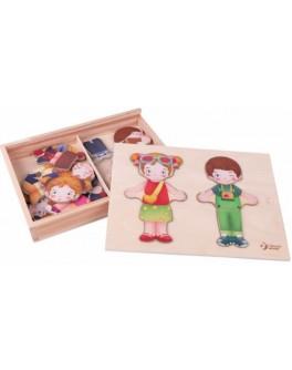 Дерев'яна гра Classic World Одягалка дівчинка і хлопчик - CW 54358