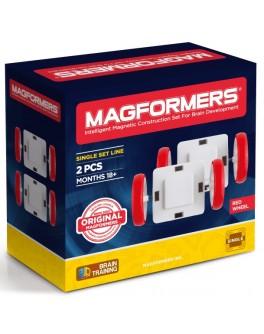 Магнітний конструктор Magformers Білі колеса з червоними шинами, 2 елемента - ITT 713024
