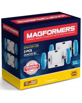 Магнітний конструктор Magformers Білі колеса з блакитними шинами, 2 елемента - ITT 713025
