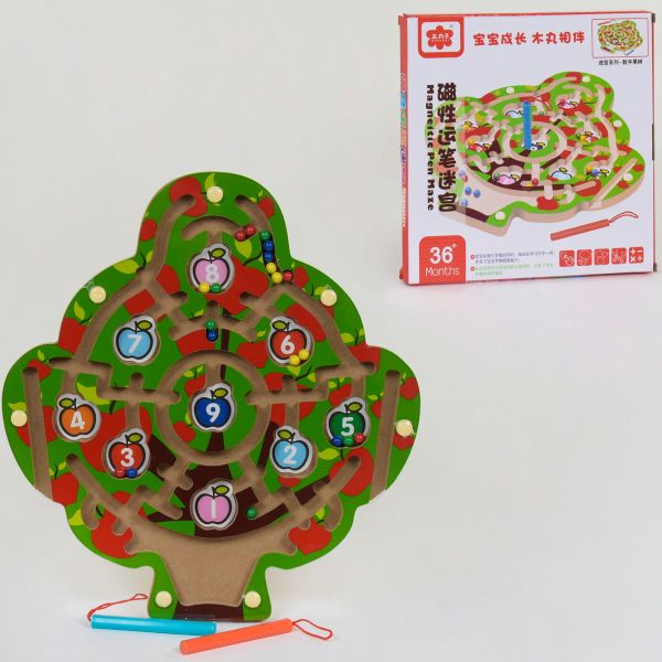 Деревянный лабиринт на магнитах Дерево