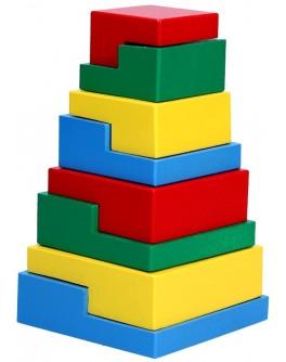 Дерев'яна іграшка пірамідка Головоломка 8 елементів, Komarovtoys - Kom 332