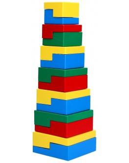 Дерев'яна пірамідка Головоломка 14 елементів, Komarovtoys - kom 334