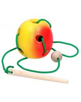 Дерев'яна шнурівка Яблуко, Komarovtoys - kom 144