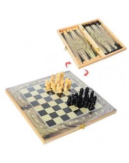 Настільні дерев'яні ігри 3 в 1: шахи, шашки, нарди (28ACD) - mpl 28ACD