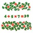 Цифри і знаки дерев'яні на магнітах 72 шт. Komarovtoys - kom J706