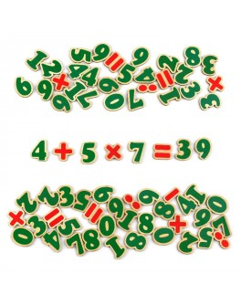 Цифры и знаки деревянные на магнитах 72 шт. Komarovtoys - kom J706