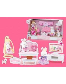Набор мебели Счастливая семья с флоксовым животным Гостиная (6619)