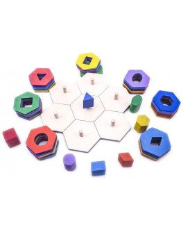 Деревянная игрушка Пирамидка-сортер Соты Розумний Лис