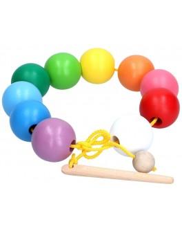 Шнурівка дерев'яна Намиста кольорові кульки, Komarovtoys - kom 153