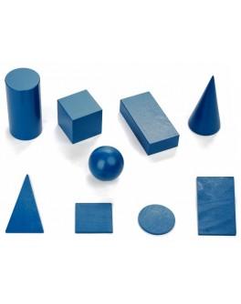 Набір дерев'яних геометричних тіл і фігур 9 елементів великий, Komarovtoys - kom 341+