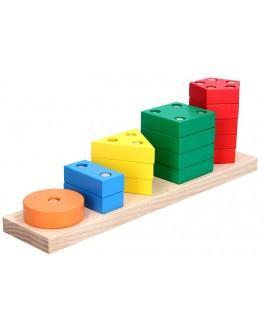 Дерев'яна іграшка пірамідка геометрична Рахунок, Komarovtoys - kom 337
