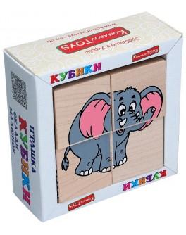 Дерев'яні кубики. Склади малюнок Звірі Африки, Komarovtoys - kom 611