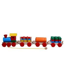 Дерев'яна іграшка Потяг і 3 вагони, Komarovtoys (ящики, цистерна, колоди) - kom 203