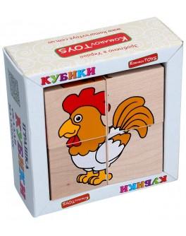 Дерев'яні кубики. Склади малюнок Домашні тварини, Komarovtoys - kom 609