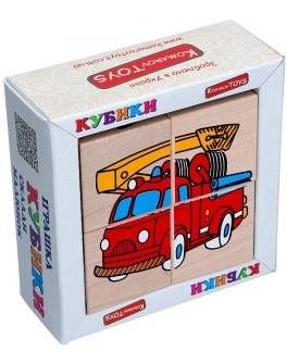 Дерев'яні кубики. Склади малюнок Транспорт, Komarovtoys - kom 610