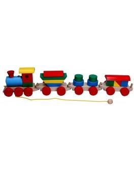 Дерев'яна іграшка Потяг і 3 вагони, Komarovtoys (цементовоз, циліндри, товарний) - kom 202