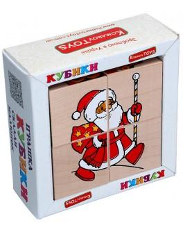 Дерев'яні кубики. Склади малюнок Новий Рік, Komarovtoys - kom 612