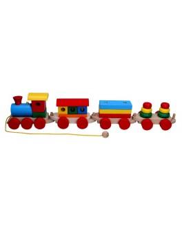 Дерев'яна іграшка Потяг і 3 вагони, Komarovtoys (пасажир., плитовіз, 2 пірамідки) - kom 201