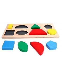 Деревянная рамка-вкладыш Геометрические фигуры на 8 элементов, KomarovToys - Kom A 327
