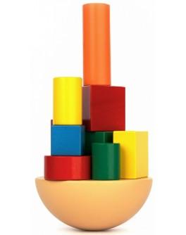 Деревянная игра-балансир Кривая башня, Komarovtoys - kom 351